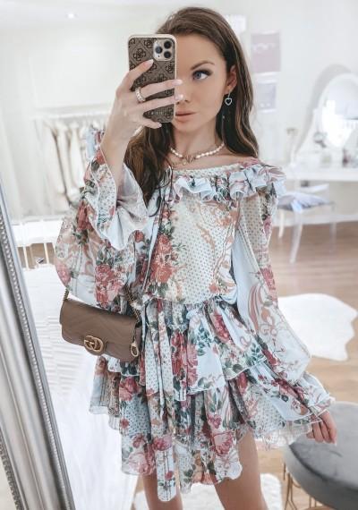 Sukienka CLEO kwiatowy print falbanki BLUE
