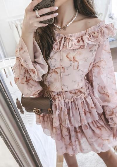 Sukienka CLEO kwiatowy print falbanki RÓŻ