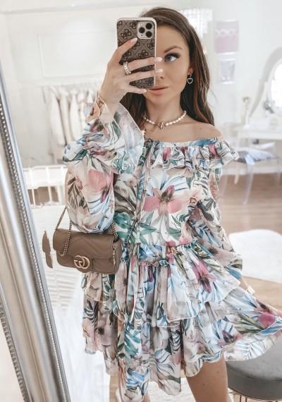 Sukienka CLEO kwiatowy print falbanki TROPIC