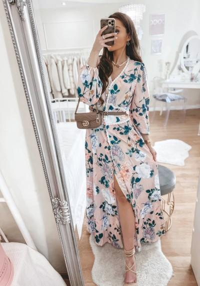 Sukienka MEGGY maxi w kwiaty różowa