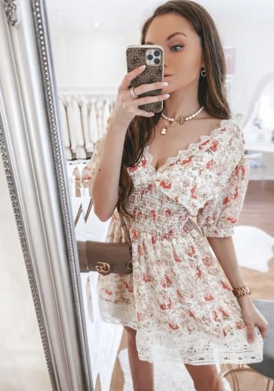 Sukienka LUNA beż w kwiatowy print