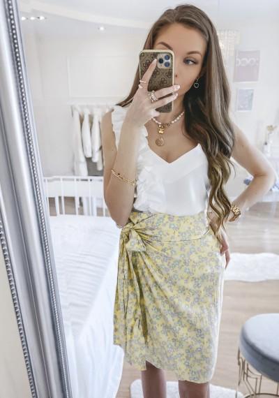 Spódnica MARCIA w kwiatowy print wiązana z boku LIGHT