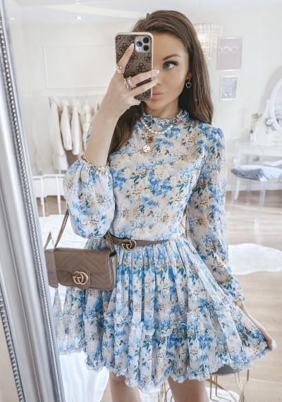 Sukienka KIARA w kwiatowy wzór z falbankami BLUE