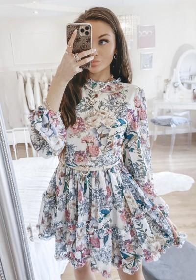 Sukienka KIARA w kwiatowy wzór z falbankami FLOWER