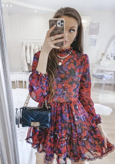 Sukienka KIARA w kwiatowy wzór z falbankami DARK