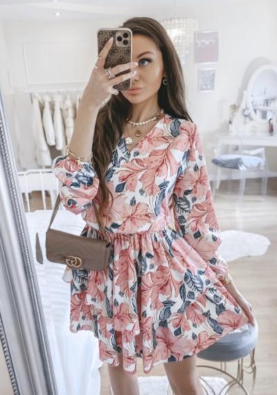 Sukienka LANA w różowy kwiatowy print 1