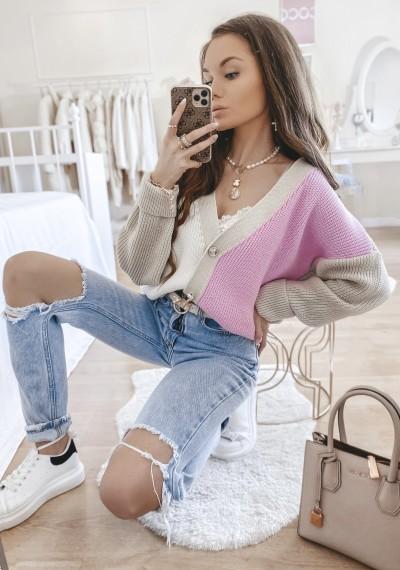 Sweter DUO rozpinany różowy