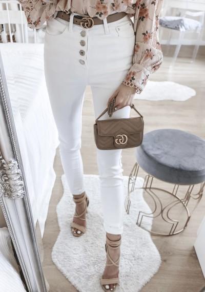 Spodnie CLARETT białe jeasnowe