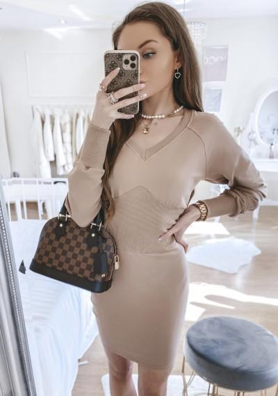 Sukienka MILAN bawełniana BRĄZOWA