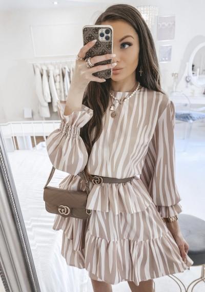 Sukienka GEORGIA w beżowy wzór zebry