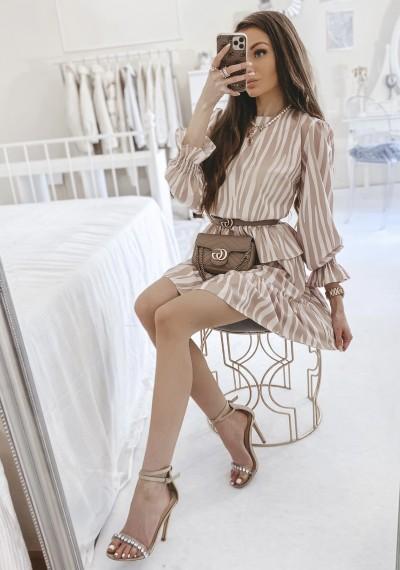 Sukienka GEORGIA w beżowy wzór zebry 1