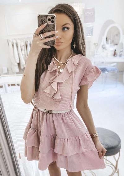 Sukienka SCARLETT falbanki różowa 1