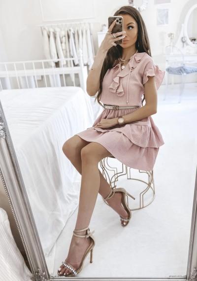 Sukienka SCARLETT falbanki różowa 2