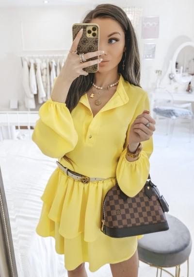 Sukienka ANNIE falbanki z guzikami z przodu zółta