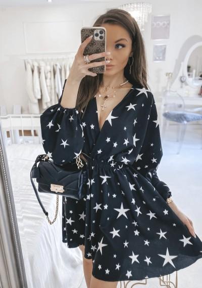 Sukienka FELICITY print gwiadki CZARNA