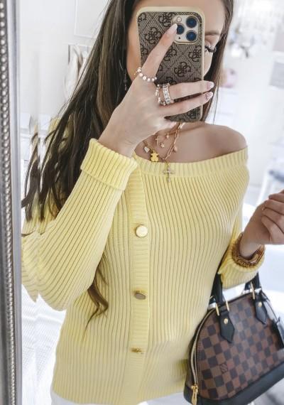 Sweter LOREY prązkowany z rzędem ozodbnym guzików na przodzie ZÓŁTY 2