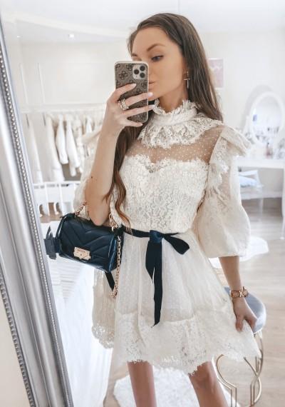 Sukienka ROSA tiulowa z koronką ECRU 1