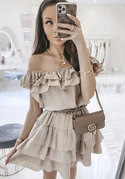 Sukienka LEOSINIO brązowa z falbankami