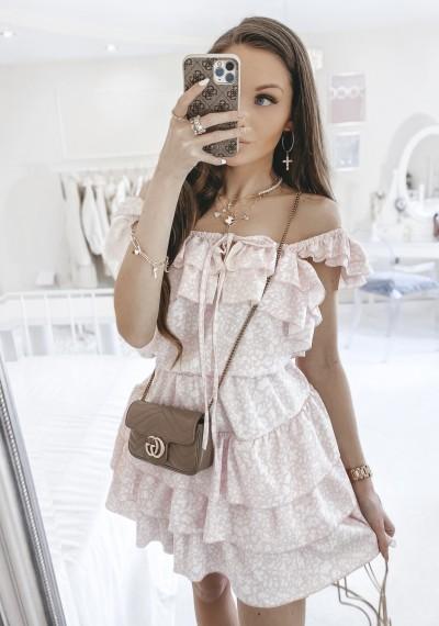 Sukienka CASSIE z falbankami print różowa