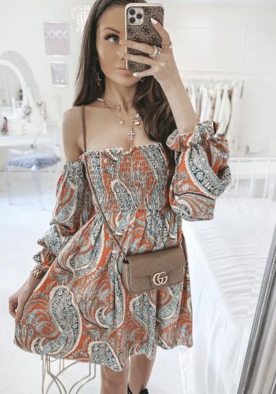 Sukienka ORIANA w stylu hiszpanki z orientalnym wzorem