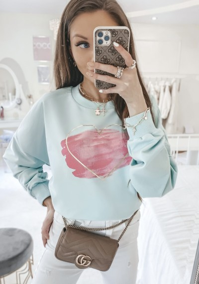 Bluza LOVE bawełniana oversize w print ZIELONA