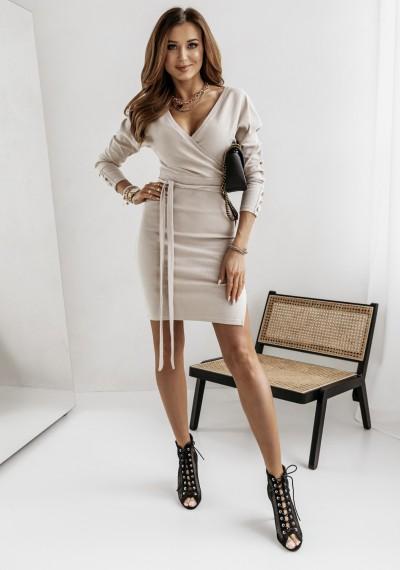 Sukienka MONIQ zakładana w prążek wiązana w pasie BEŻOWA 1
