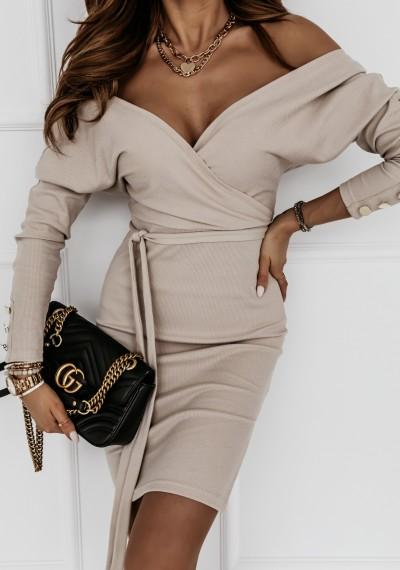 Sukienka MONIQ zakładana w prążek wiązana w pasie BEŻOWA 2