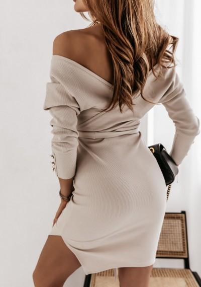 Sukienka MONIQ zakładana w prążek wiązana w pasie BEŻOWA 3