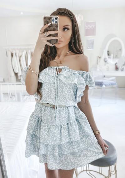 Sukienka CASSIE z falbankami print ZIELONY