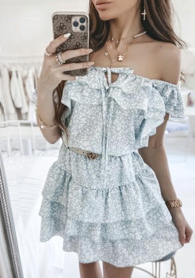 Sukienka CASSIE z falbankami print ZIELONY 1