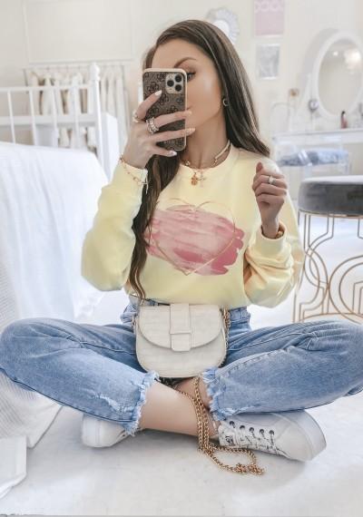 Bluza LOVE bawełniana oversize w print ŻÓŁTA
