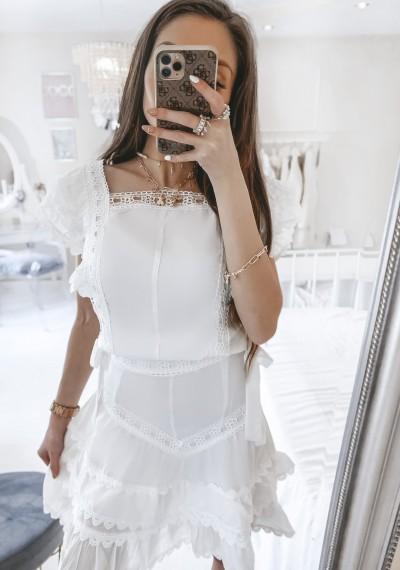 Komplet BRANDO biały spódnica z bluzką BOHO