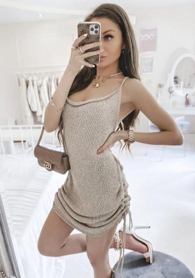Sukienka RITA dzianina złota nitka ZŁOTA 1