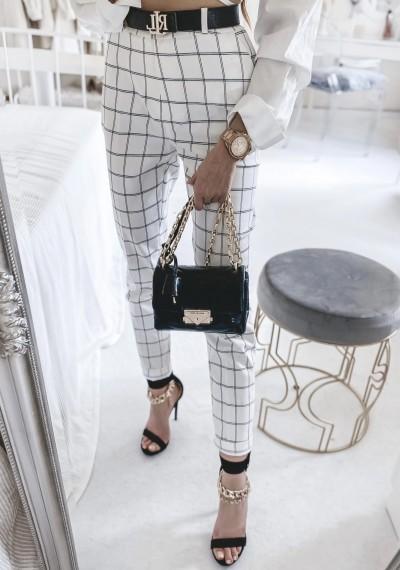 Spodnie TERRY białe w kratę