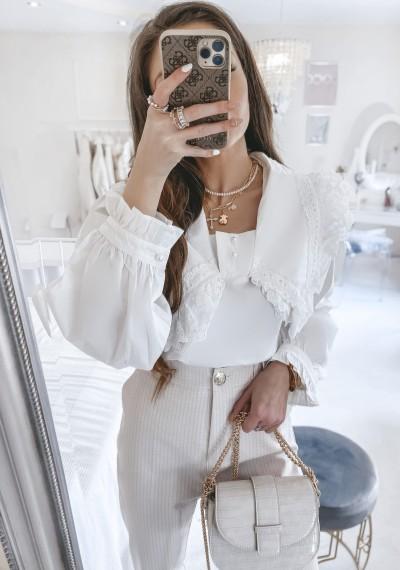 Bluzka SANTORINI biała z perłowymi guzikami