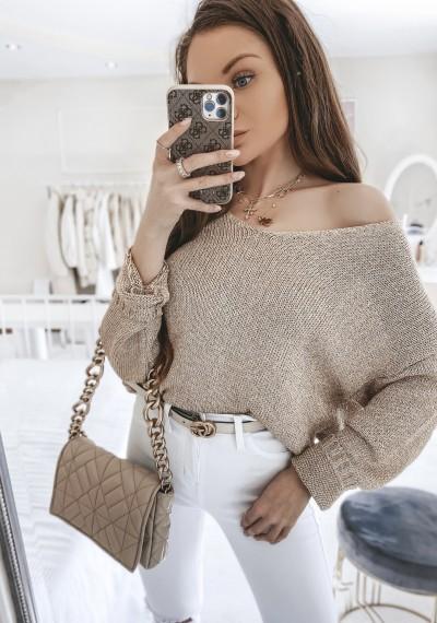 Sweter DORIAN złoty w serek