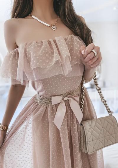 Sukienka CARLA tiulowa midi BEŻ 3