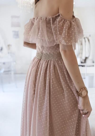 Sukienka CARLA tiulowa midi BEŻ 4