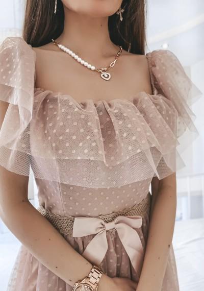 Sukienka CARLA tiulowa midi BEŻ 5