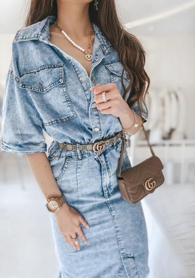 Sukienka CASSANDRA jeansowa midi 1