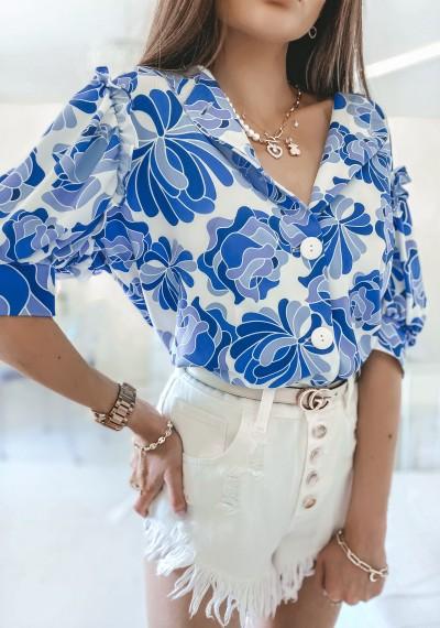 Bluzka MISSY kwiatowy print na guziki NIEBIESKA 1