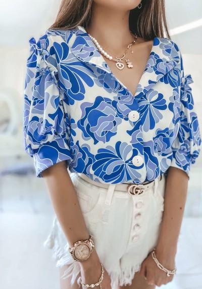 Bluzka MISSY kwiatowy print na guziki NIEBIESKA 2