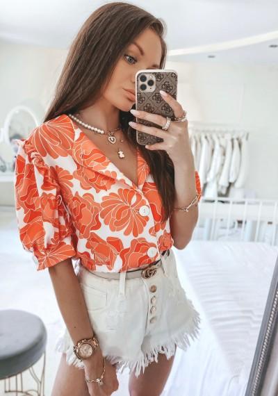Bluzka MISSY kwiatowy print na guziki pomarańczowa