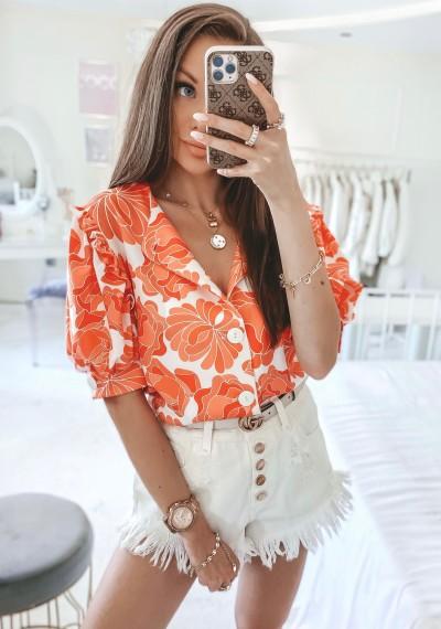 Bluzka MISSY kwiatowy print na guziki pomarańczowa 1