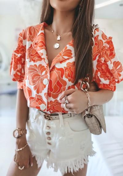 Bluzka MISSY kwiatowy print na guziki pomarańczowa 2