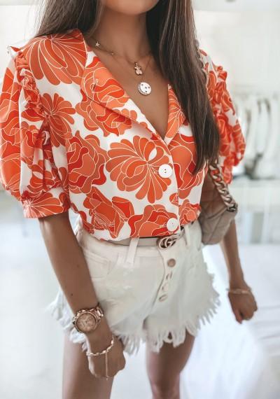 Bluzka MISSY kwiatowy print na guziki pomarańczowa 3