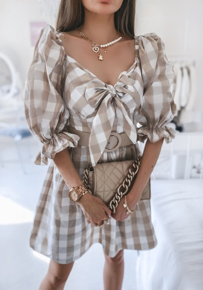 Sukienka LUCIA beżowa kratka z paskiem 3