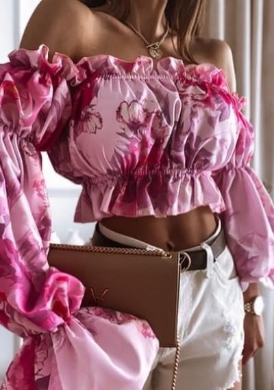 Bluzka FLOW hiszpanka w kwiatowy print różowa
