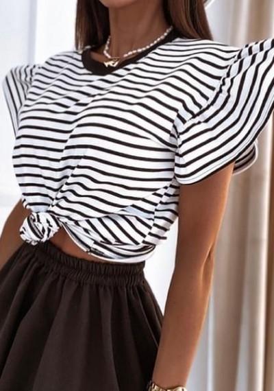 Bluzka LOUETTE z rękawkiem falbanką PASKI czarno-białe