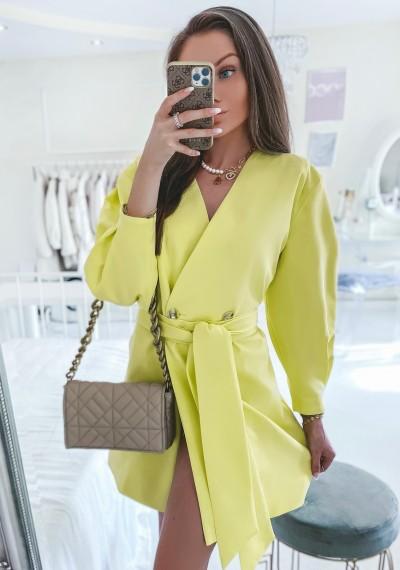 Sukienka SARAH marynarkowo w kolorze limonki